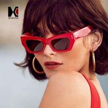 SHAUNA Vintage Women Cat Eye Sunglasses Nail Decoration Popular Men Red Shades UV400