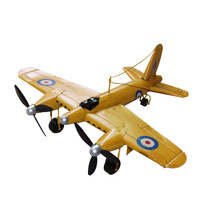 Large Vintage Aircraft Metal Model Handmade Twin Propeller Fighter Children's Aircraft Toy Desktop Collection Gift Decoration