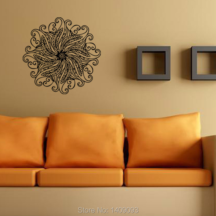 Clic Wall Sticker Indian Style Buddhism Art Decoration Living Room