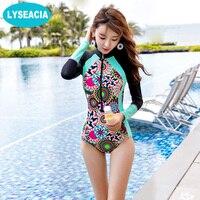 LYSEACIA Long Sleeve Swimwears For Women One Piece Swimsuit Zipper Rash Guards Slim Girl Summer Swimming