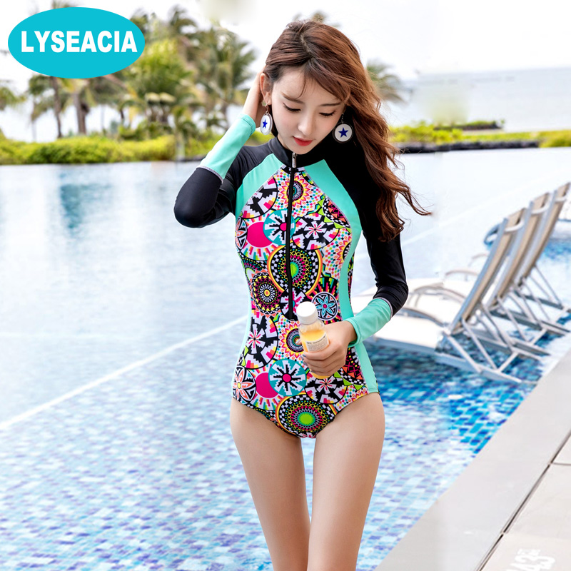 LYSEACIA Long Sleeve Swimwears for Women One Piece Swimsuit Zipper Rash Guards Slim Girl Summer Swimming Suit RASHGUARD Printed цена