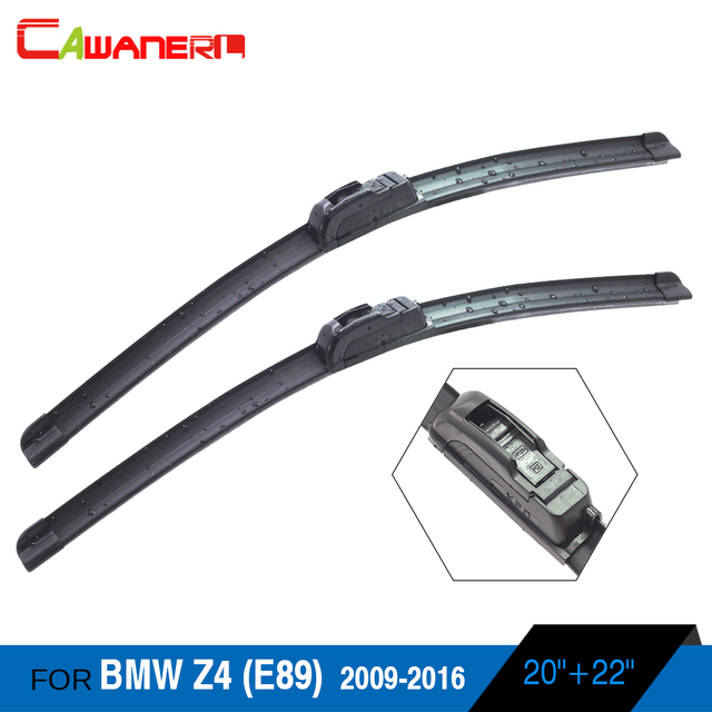 Cawanerl 2pcs Car Soft Rubber Frameless Wiper Blades Auto Front