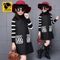 Adolescentes ropa de tirantes 12 años niños disfraces rojo negro vestido de los niños ropa de invierno de lana de la vendimia de estilo europeo