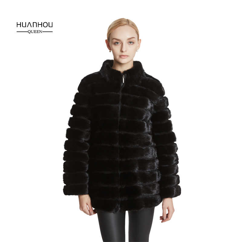 5f21738d1 Huanhou queen real mink fur coat for women stand collar ,slim and warm  extra large plus size coat ,full sleeve new style.