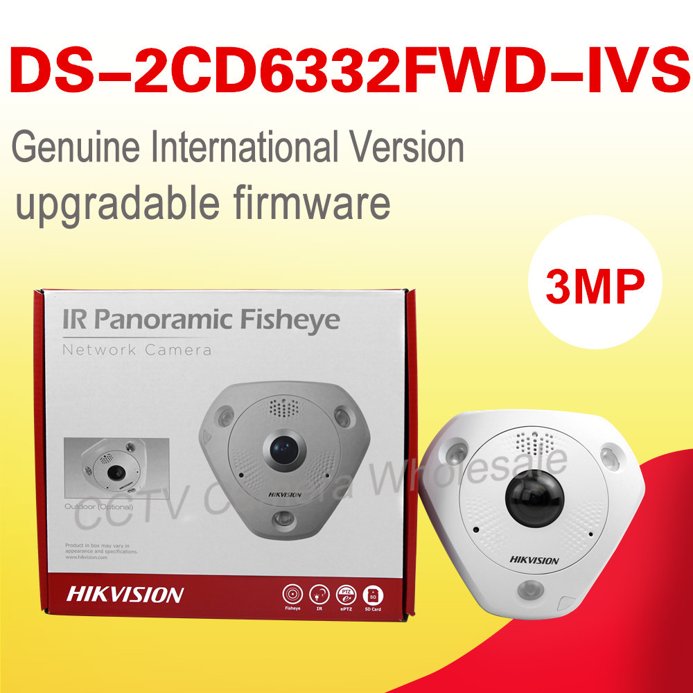 English version DS-2CD6332FWD-IVS 3MP 360 degree view angle Panoramic fisheye ip security CAMERA Camera eaton ivs katalog