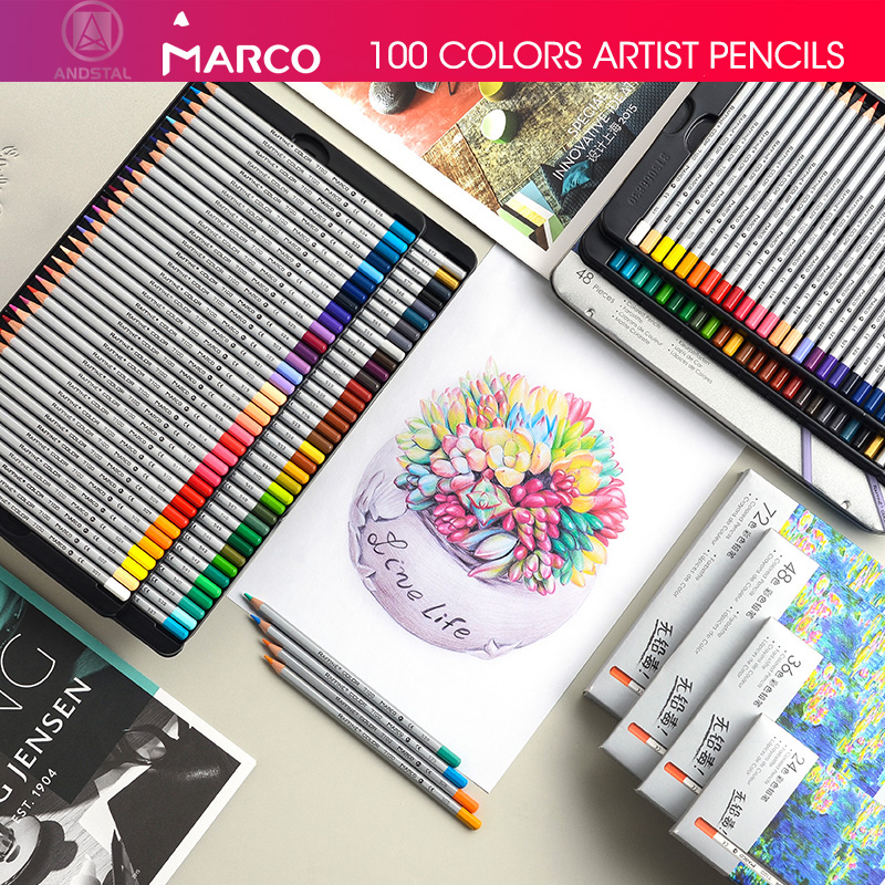 Marco 24/36/48/72 Colors Raffine Fine Artist Oil Color Pencil Pack Set Andstal For Drawing Colour Colored Pencils School