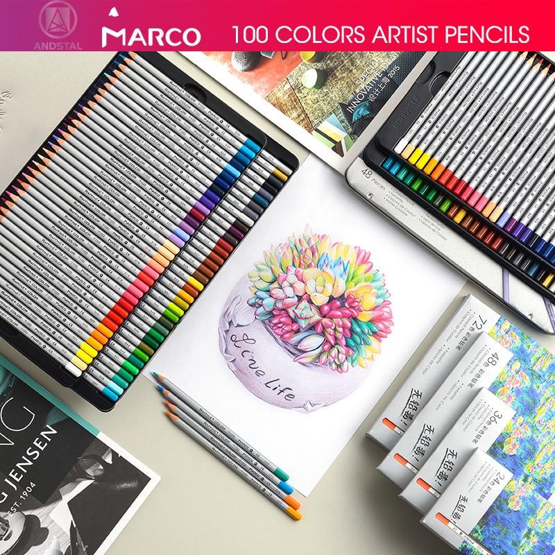 Marco 24/36/48/72 Colors Raffine Fine Artist Oil Color Pencil Pack Set Andstal For Drawing Colour Colored Pencils School