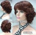 Média metragem curta borgonha Curly peruca 10 cores para você escolher frete grátis