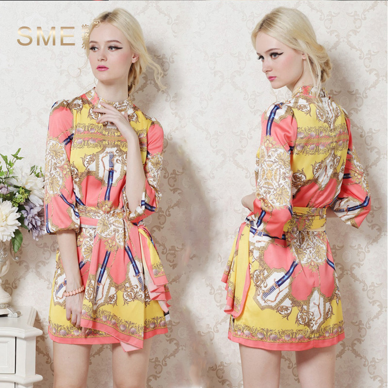 Brand New Classic Designing Women HIGH QUALITY Flare Sleeve Loose Behemian Dresses Summer Print Mini Retro