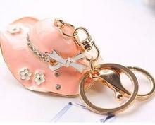 Fashion Accessories Rhinestone Crystal Pink summer hat  Key Chains SHIYING