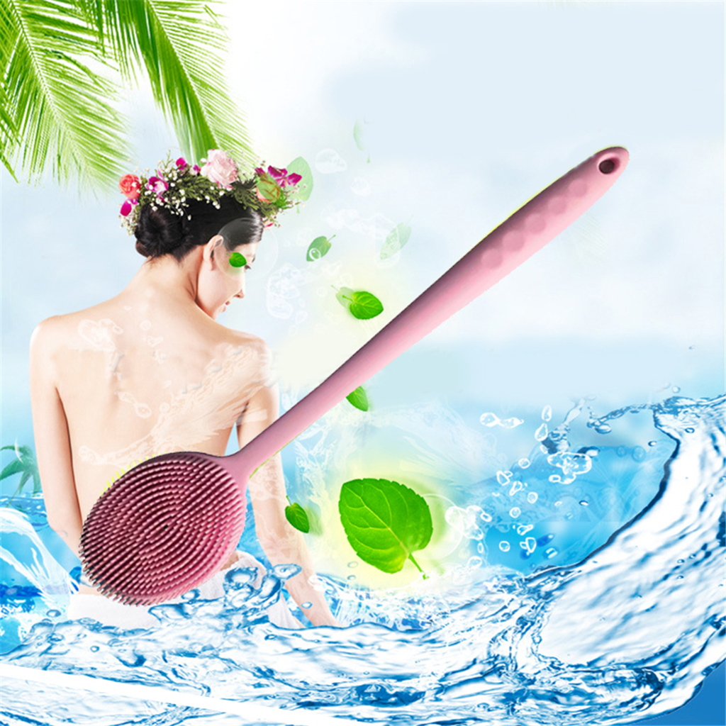 Useful Silicone Long Handle Bath Brush Back Brush Exfoliator Massage Soft Bristle Brush 2018 in Bath Brushes Sponges Scrubbers from Home Garden