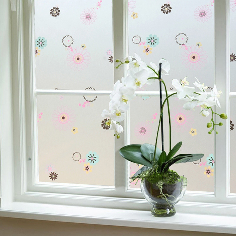 Nordic PVC Balcony Membrane Flower Type Window Stickers Glass Explosion Proof Office Office Glue Shower Room Sticker in Decorative Films from Home Garden
