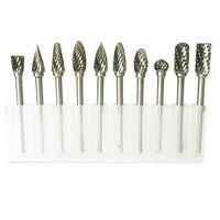 10pcs Tungsten Carbide Burs Sets Rotary Mini Drill Accessories Dremel Drill Grinding Burrs Tungsten Sharpening Drill