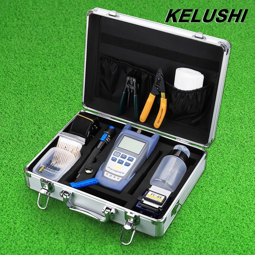 KELUSHI FTTH оптичен комплект за оптични влакна с уред за измерване на мощността на Fibra Optica и локатор за визуални неизправности и почистващ кабел Stripper FC-6S Cleaver