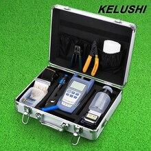 Kit de Herramientas de Fibra Óptica FTTH KELUSHI con Fibra Óptica de Energía metro y Localizador Visual de Fallos y el Cortador de Cable Stripper FC-6S Cleaver