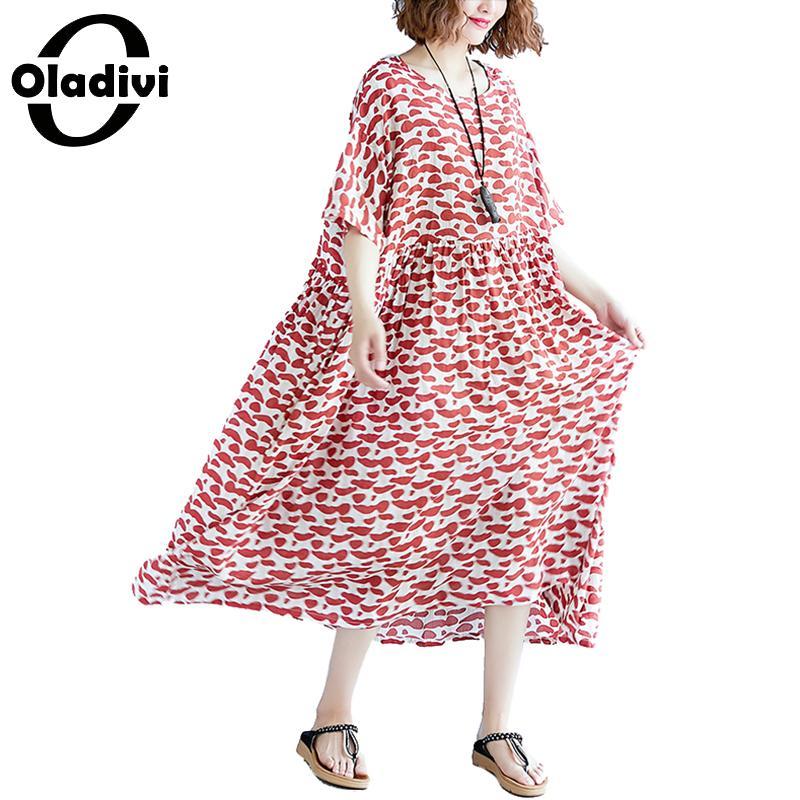 9547b00ee7bceb Toile rouge Femmes Des Tunique Imprimer La D'été Vert Longue Plus Robes  Pour Lâche Mode De Taille Coton Dress Vestidios Marque Oladivi Dames  Vêtements ...