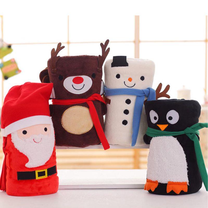 Christmas Soft Blanket Cute Cartoon Sofa Bed Blanket Decoration Woman Kids Gift Warm Blanket Home Textiles