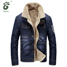 TAPOO brand denim jacket men fashion cowboy style jean jacket high quality thicken warm retro denim jacket with fur mens outwear
