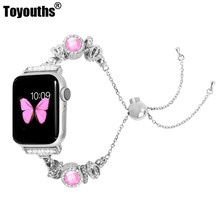 Watch Band Women iWatch Handmade Crystal Bling Beads with Rhinestone Bracelet Jewelry Wristbands Strap for Apple Watch 4 3 2 1(China)