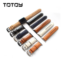 TOTOY Handmade Italian Leather Watchbands Apples Watch Vintage Style Strap 38MM 42MM Calfskin Strap, Fast Shipping