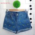 Meninas shorts jeans projeto do pato do bebê crianças de algodão verão calções crianças denim shorts para meninas roupas da menina da criança roupas