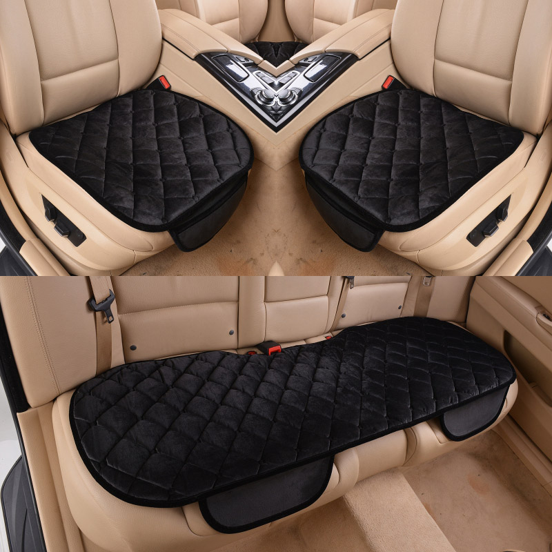 Car Seat Cover Cushion Winter Universal Front Back Seat Covers Car Chair Pad Car Supplies Square Style Luxurious Warm pillowcase classic style wave pattern car comfy back cushion cover