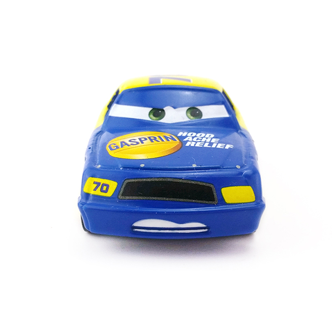 Disney No. 70 Metal Car 1:55 Scale Diecast Recing Car Alloy Model Yellow and Blue Toys Action Finger for Childrens Birthday Gift