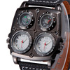 2015 New Arrival Mens OULM 1140 Top Brand Watches High Quality Leather Double Japan Movt Quartz