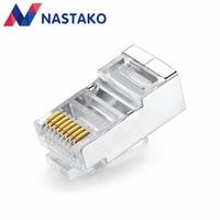 NASTAKO 50pcs New Cat5 Cat5e Rj45 Connector Rj45 Plugs Cat 5 Network Connectors Split Type Stp