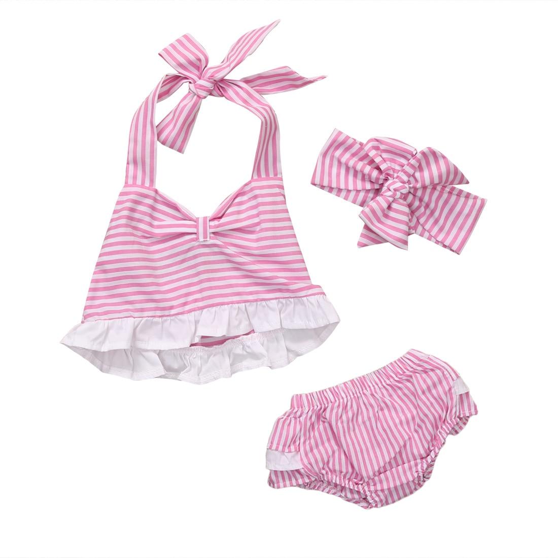 HOT Newborn Baby Girls Striped Short Tops+Bottoms+Headband Outfits 3Pcs Sets Summer Clothes