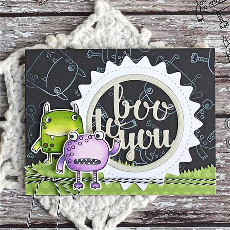 YaMinSanNiO 1Pc Lot 14 14cm 2018 New Clear Stamps Cutting Dies Card Album Round Boo to You Rubber Decorative Clear Stamp Phrase in Cutting Dies from Home Garden