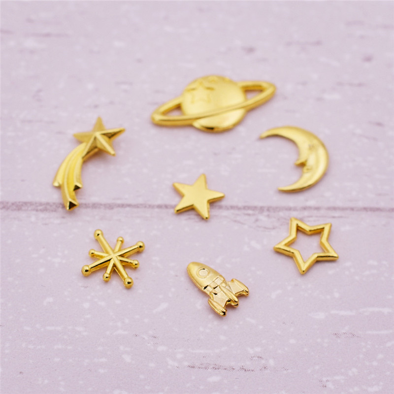 50X mixed <font><b>rocket</b></font> universe star moon <font><b>meteor</b></font> Metal Small Charms beads jewelry findings for Jewelry Making DIY Handmade filler