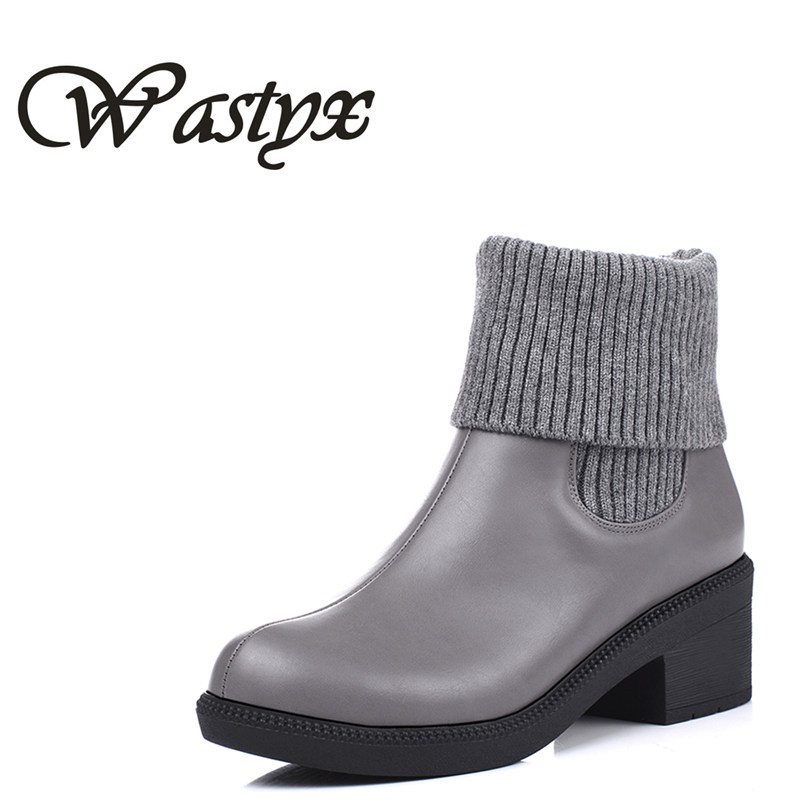 Wastyx New fashion women boots comfortable winter sweet round toe mid calf boots appointment solid popular women boots plus size winter women boots basic fashion round toe comfortable flat shoes female footwear mid calf warm boots popular wholesale dgt674
