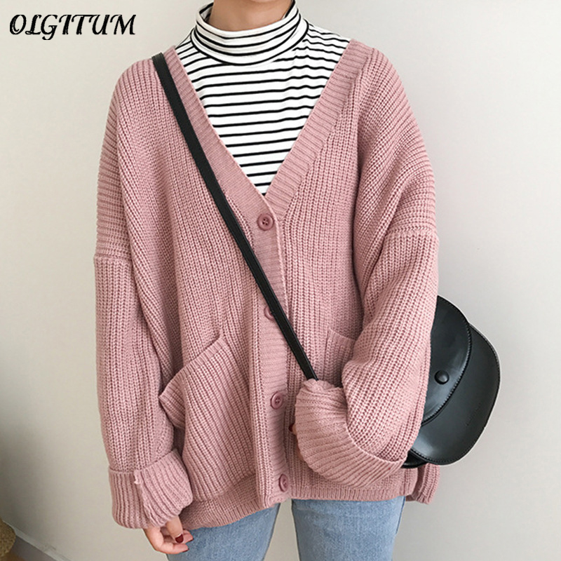 2019 Korean Women Sweater Cardigan Double Pocket Design Female Knitted Cardigan Knit Sweater Autumn Winter Tops