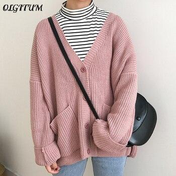 2020 Korean Women Sweater Cardigan Double Pocket Design Female Knitted Cardigan Knit Sweater Autumn Winter Tops