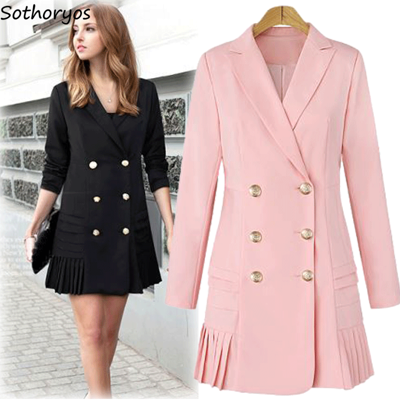 Trench   Women 2019 Full Sleeve Slim Elegant Solid Draped Double Breasted Autumn Trendy All-match Sweet Womens Outwear European