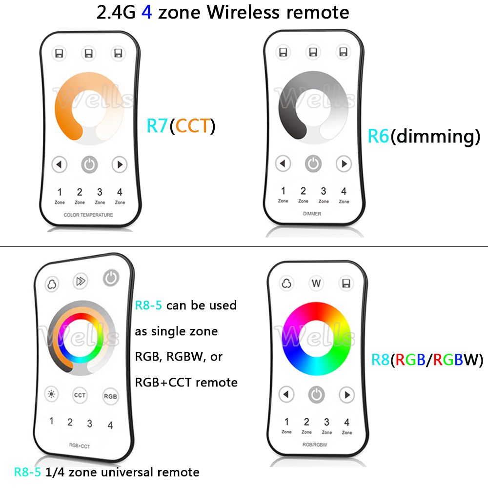 Dimmers cor/rgb/rgbw led controlador dimmer remoto R8-5 : 1/4 Zone Universal Remote