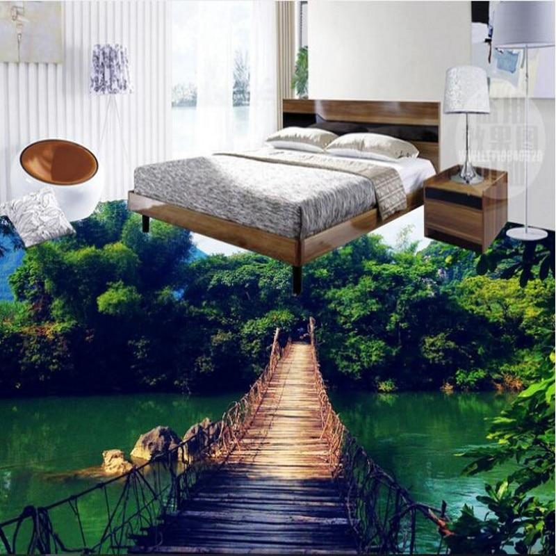 Купить с кэшбэком wellyu Custom large-scale mural PVC floor wooden bridge sky landscape 3D three-dimensional floor thick and wear-resistant