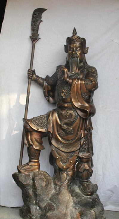 Details about 76 Huge Chinese Bronze Sword Guan Gong Yu Warrior consecrate God Stand Statue