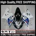 8Gift  For SUZUKI GSX R750 Blue white 04 05 GSXR 750 600 04-05 2JK86 R600 K4 GSXR600 GSXR750 Hot Blue black 2004 2005 Fairing
