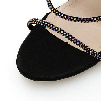 Летняя женская обувь; стильные женские сабо; пикантные босоножки со стразами; черные босоножки на тонком каблуке с тремя ремешками и страза...