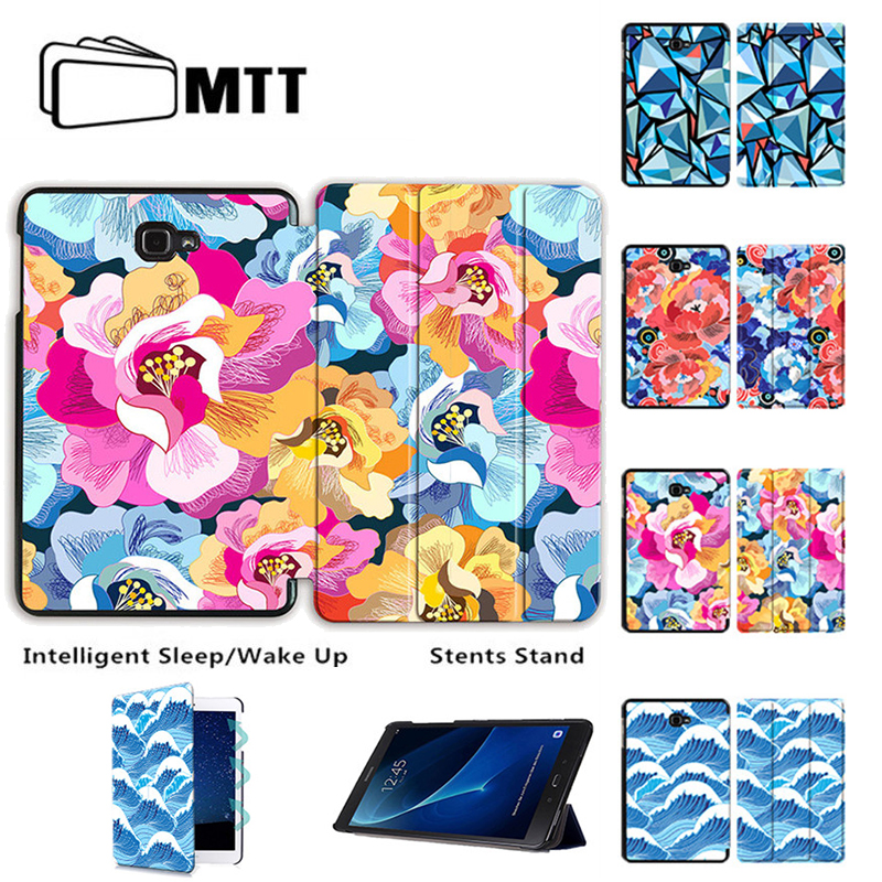 MTT Full Printing Case For Samsung Galaxy Tab a 10.1 2016 s7 SM-T580 T580N T585 T585C Trifold Leather funda Tablet Stand Cover все цены
