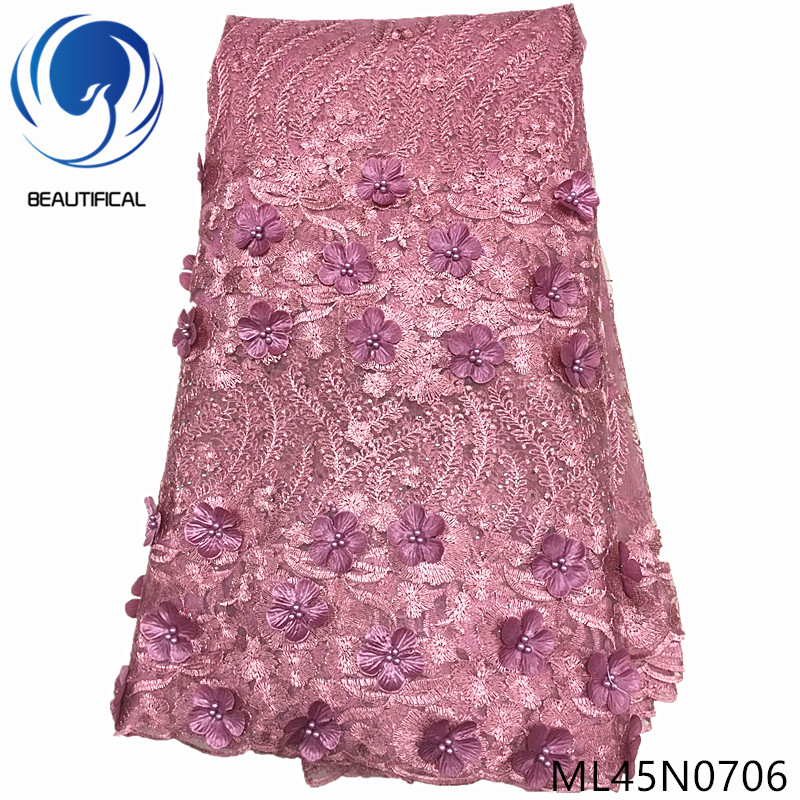 BEAUTIFICAL nigerian tulle embroidery fabrics 3d lace with beads french net lace 2019 ML45N07BEAUTIFICAL nigerian tulle embroidery fabrics 3d lace with beads french net lace 2019 ML45N07