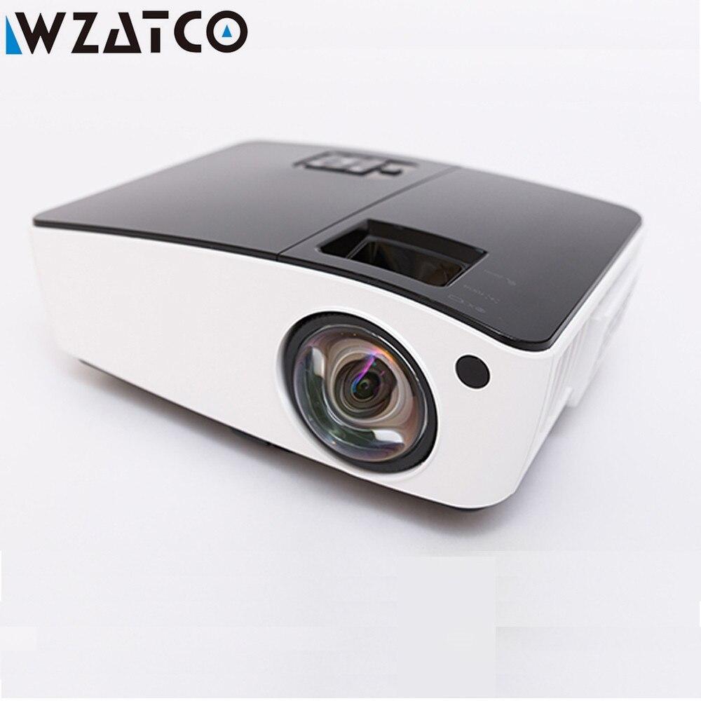 Wzatco curto lance projetor luz do dia hdmi casa de teatro 1080p completo hd 3d dlp projetor proyector beamer para salão da igreja hotel