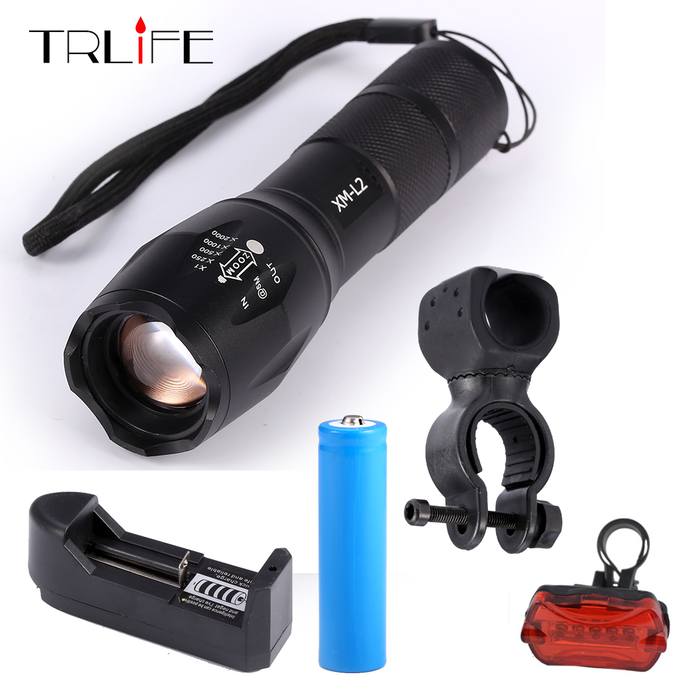 1 complete set  Bicycle Light CREE XM-L2/T6 8000Lumens bike Flashlight Torch+Mount Holder +Rear light+Charger+ 1*18650 battery 3800 lumens cree xm l t6 5 modes led tactical flashlight torch waterproof lamp torch hunting flash light lantern for camping z93