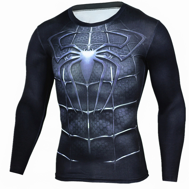 Spider Man T shirt MMA long sleeves Tops Tees compression clothing chandal hombre tracksuit for men