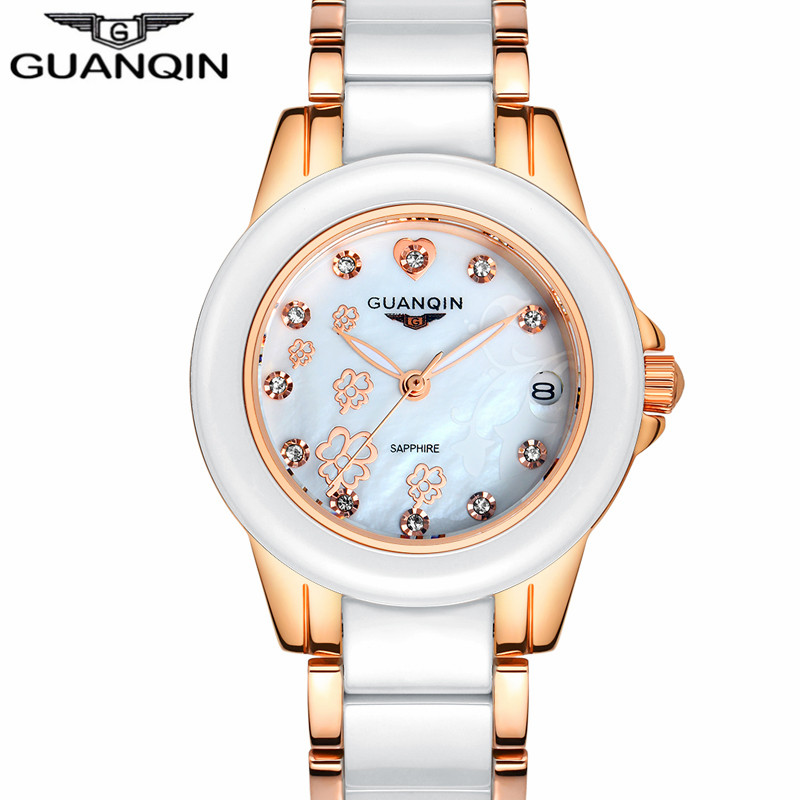 Relogio Feminino GUANQIN Brand Fashion Women Clock Luxury Ceramic Quartz Watch Ladies Casual Waterproof Gold Bracelet Wristwatch relogio luxury quartz women watches brand gold fashion business bracelet ladies watch waterproof wristwatch relogio femininos