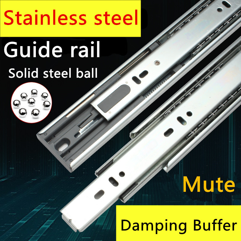 1 Pair HG90T Stainless Steel Three Sections Drawer Track Slide Guide Rail accessories Furniture Slide with Damping Furntion drawer slide rail track three mute hydraulic damping buffer t