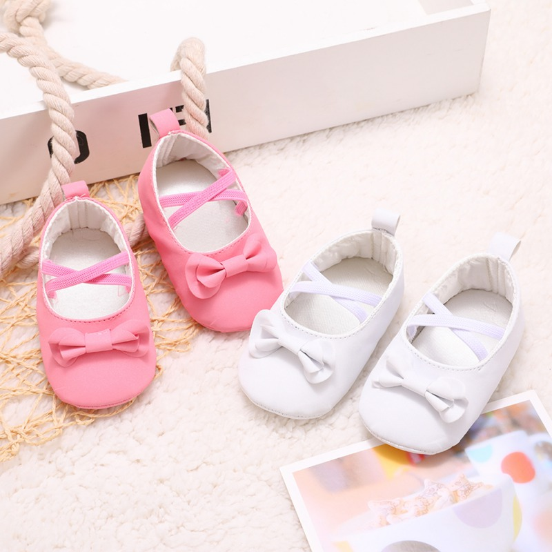 Spring Autumn Baby Toddler First Walkers Baby Girl Shoes Newborn Bow Cross Elastic Band Princess Shoes Y13