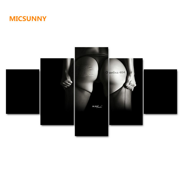 Micsunny women hips hd canvas prints 5 pieces painting wall art home decor panels sport poster